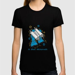 Bat Mitzvah with scroll and shawl  T-shirt