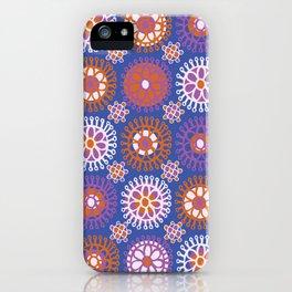 Flower Doodles Cobalt Blue, circles and flowers design iPhone Case