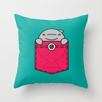 pocket Throw Pillows featuring Pocket Dolphin by Steven Toang