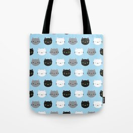 Cute Cats & Kawaii Kittens (Blue) Tote Bag