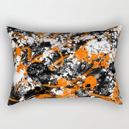 Individualistic Graffiti 7 Black White Orange - Abstract Art Series Rectangular Pillow