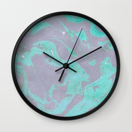 Mauve and Teal Marble Pattern Wall Clock