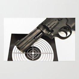 Air gun pistol revolver and a target Rug