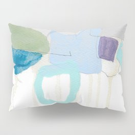 stone by stone 2 - abstract art fresh color turquoise, mint, purple, white, gray Pillow Sham