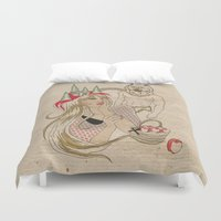 red riding hood Duvet Covers featuring Little Red Riding Hood by TOXIC RETRO