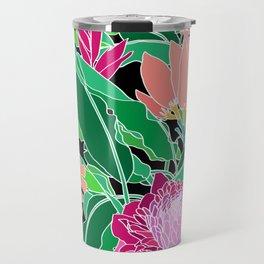 Bird of Paradise + Ginger Tropical Floral in Black Travel Mug