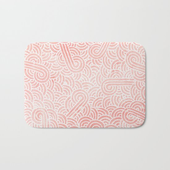 Rose quartz and white swirls doodles Bath Mat
