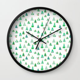 Seamless set of funny and cute Christmas and new year images Wall Clock