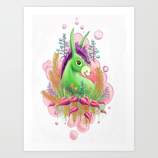 Green donkey Art Print