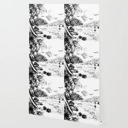 Birds and Landscape Lithograph Wallpaper