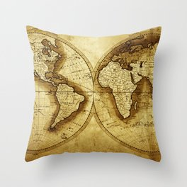 Antique Map of the World Throw Pillow