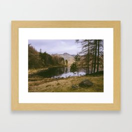 langdale pikes and blea tarn in winter. lake district, uk Framed Art Print
