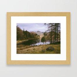 langdale pikes and blea tarn in winter. lake district, uk Framed Art Print