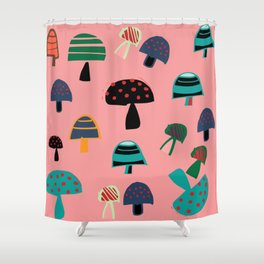 Cute Mushroom Pink Shower Curtain
