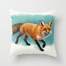 Fox walk Throw Pillow