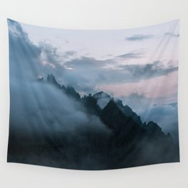 Dolomite Mountains Sunset covered in Clouds - Landscape Photography Wall Tapestry