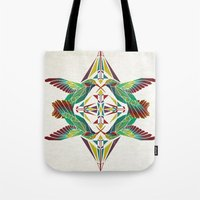 hummingbird Tote Bags featuring hummingbird  by Manoou