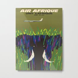 Air Afrique Mid Century Modern Colorful Elephant Savanna Metal Print