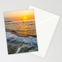 Sunset lover waves relaxing Sea beach sun in the Horizon sicilian landscapes Stationery Cards