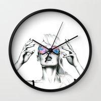 iggy azalea Wall Clocks featuring Iggy Azalea 2 by Tiffany Taimoorazy