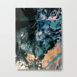 Intertstellar [2]: An abstact, mixed-media piece, in black, blue, pink, and gold Metal Print