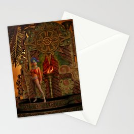 Fantasy maya temple in the sunset Stationery Cards