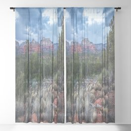 Sedona - Cool Vibes in the Desert Landscape in Northern Arizona Sheer Curtain
