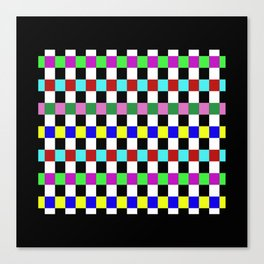 Retro 3 - Abstract, multicoloured, bold, chekkered, checkered pattern Canvas Print