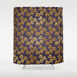 Dark Purple Gold Rose Shower Curtain