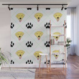 Yellow Lab Paw Print Pattern Wall Mural