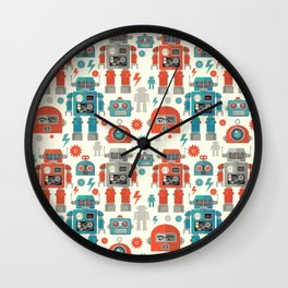 Retro Space Robot Seamless Pattern Wall Clock