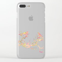 Love Birds on Branch Vintage Floral Shabby Chic Pink Yellow Mint Clear iPhone Case