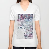 san diego V-neck T-shirts featuring San Diego map by MapMapMaps.Watercolors