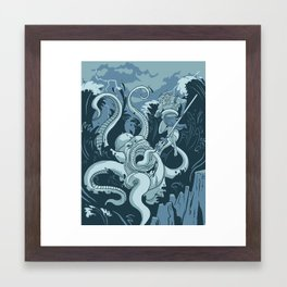 King Neptune Vs. The Sea Monster Framed Art Print