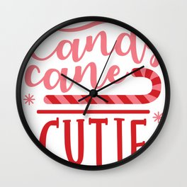 Cute Christmas Candy Cane Cutie Wall Clock