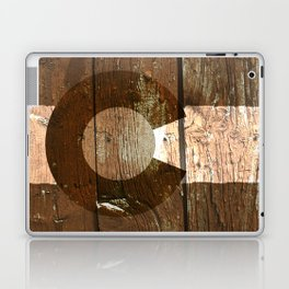 Rustic brown wooden Colorado flag Laptop & iPad Skin