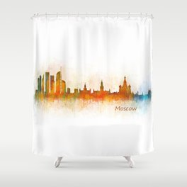 Moscow City Skyline art HQ v3 Shower Curtain