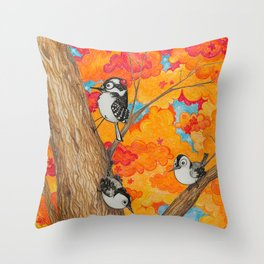 Fall: Two Nuthatches and a Downy Throw Pillow