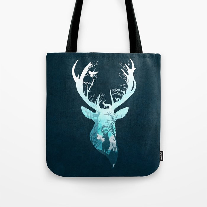 Deer Blue Winter Tote Bag