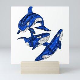 Tribal Orcas Killer Whales Ocean Animals Mini Art Print