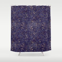 Gold Outlined Flowers Royal Navy Blue Oh Deer Shower Curtain