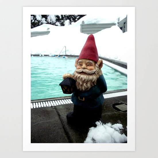 Snow Pool Gnome Art Print