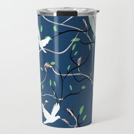Art Nouveau Moon with Doves (Blue and Silver) Travel Mug