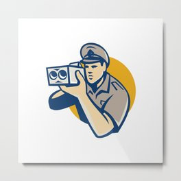 policeman with police speed camera retro Metal Print