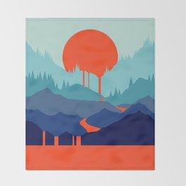 Red Sun Rising Throw Blanket