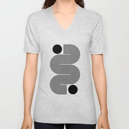 Abstraction_NEW_SUN_LINE_POP_ART_Minimalism_0299A Unisex V-Neck