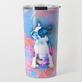 Boston Terrier Watercolor Digital Art Travel Mug