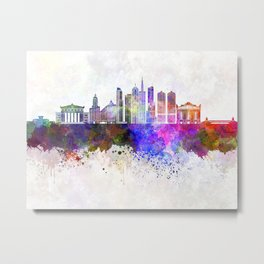 Chicago V2 skyline in watercolor background Metal Print
