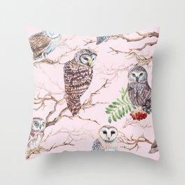 Watercolor barn owl Throw Pillow