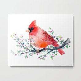 Watercolor red cardinal on berry branch Metal Print